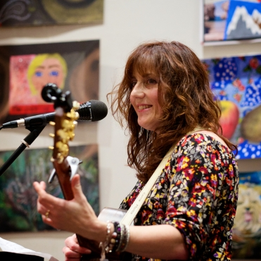 Carrie plays at my How to be Brave book launch (credit Jerome Whittingham)